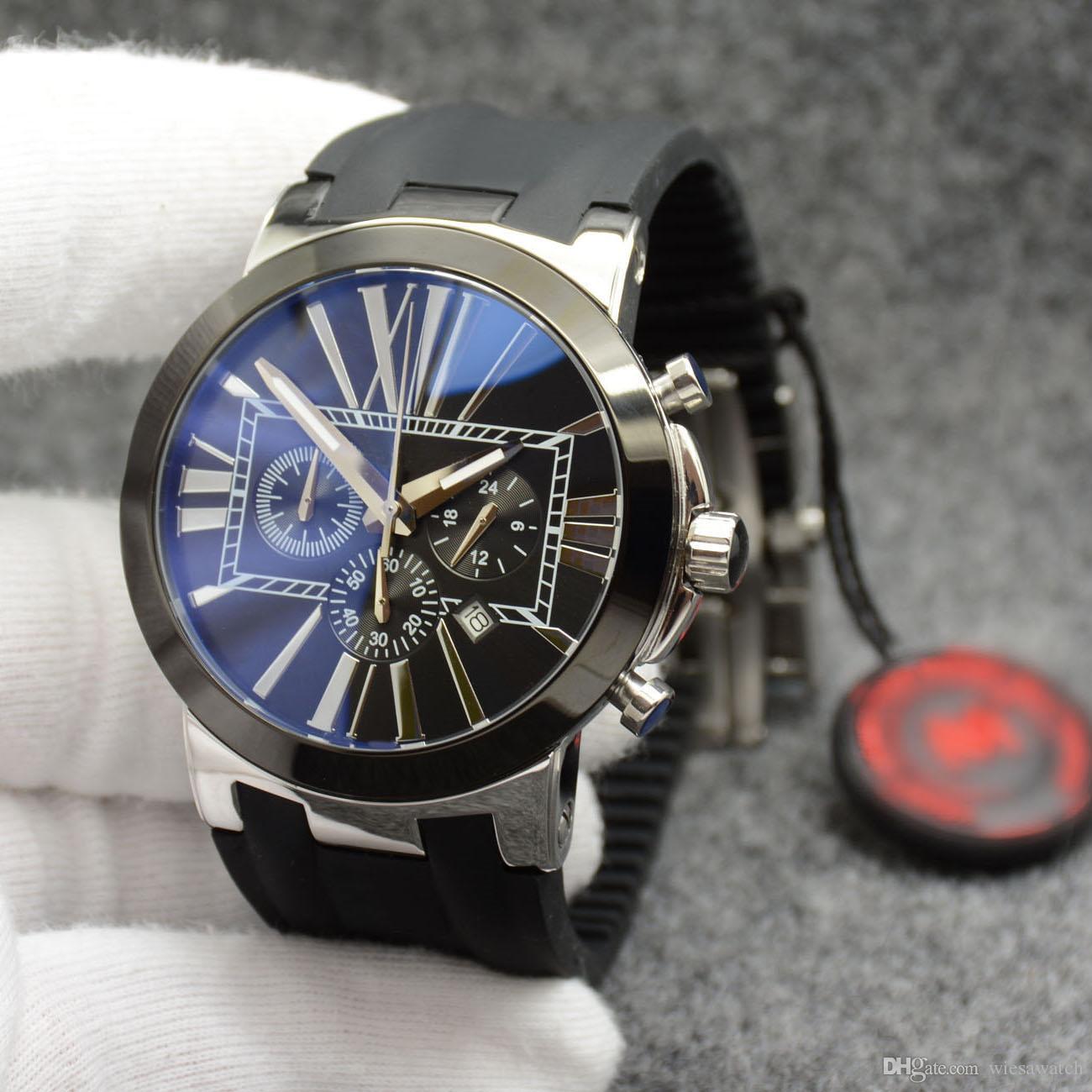 Dial design simples Men relógio cronógrafo de quartzo Preto Número Roman Marcadores exterior Mens Relógios com faixa de borracha preto