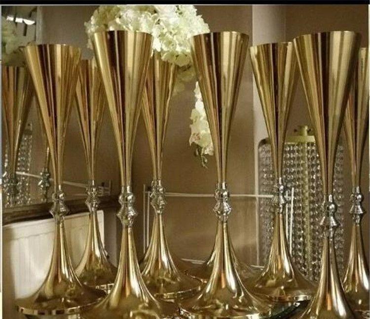 70cm 27 pouces de haut vase blanc d'argent de fleur de mariage bling décoration de mariage Table Centerpiece mousseux Banquet route plomb Décor