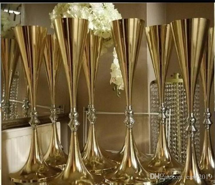 70cm 27 дюймов Белый Серебряная свадьба ваза для цветов Bling Таблица Centerpiece игристые Свадебные украшения Банкет-роуд Lead Decor