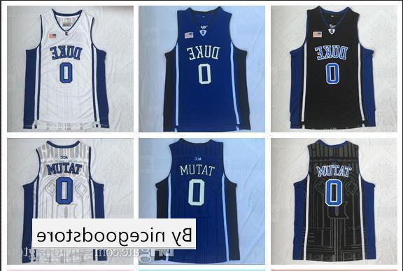 NCAA College di Duke 0 Tatum Bianco, nero e blu ricamato pallacanestro swingman Jersey