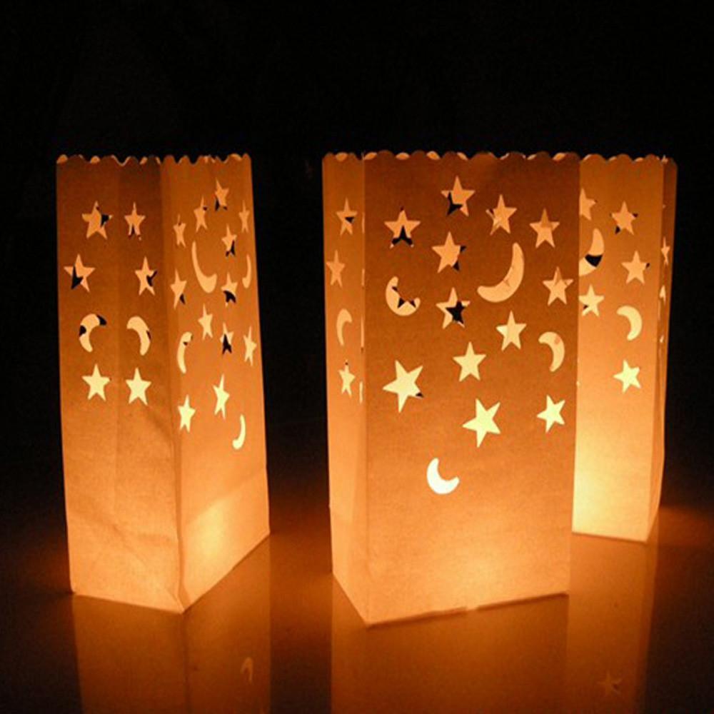 10pcs Noël Coeur lumière Porte Luminaria Lampion sac Bougie fête de mariage romantique Décoration Fournitures # 15