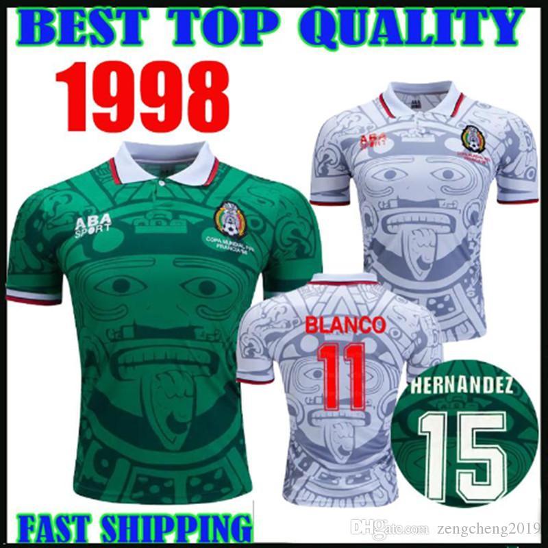 축구 유니폼 1994 1998 멕시코 레트로 버전 축구 셔츠 BLANCO 아레야노 라미레즈 에르난데스 H.SANCHEZ 축구 셔츠