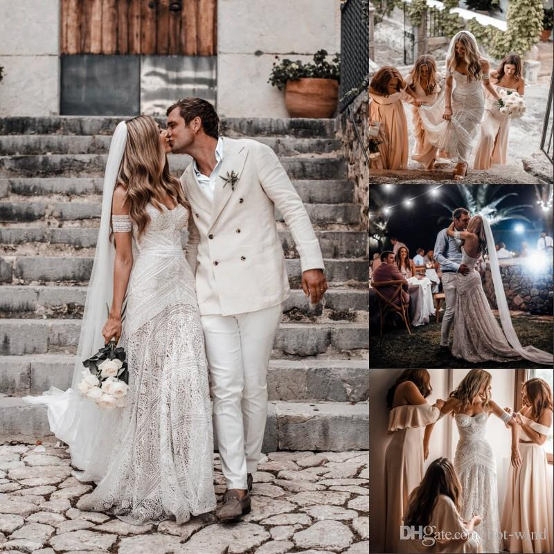 2020 Bohemia Lace Beach Wedding Dress Sexy Off the Shoulder Vestido De Noiva Lace Short Sleeve Backless Boho Wedding Gowns