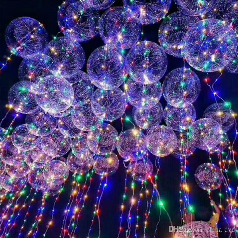 18-Zoll-Griff führt Ballon Luminous Transparent Helium Bobo Ballons Hochzeit Geburtstag Partydekoration für Kinder LED-Licht-Ballon DHL