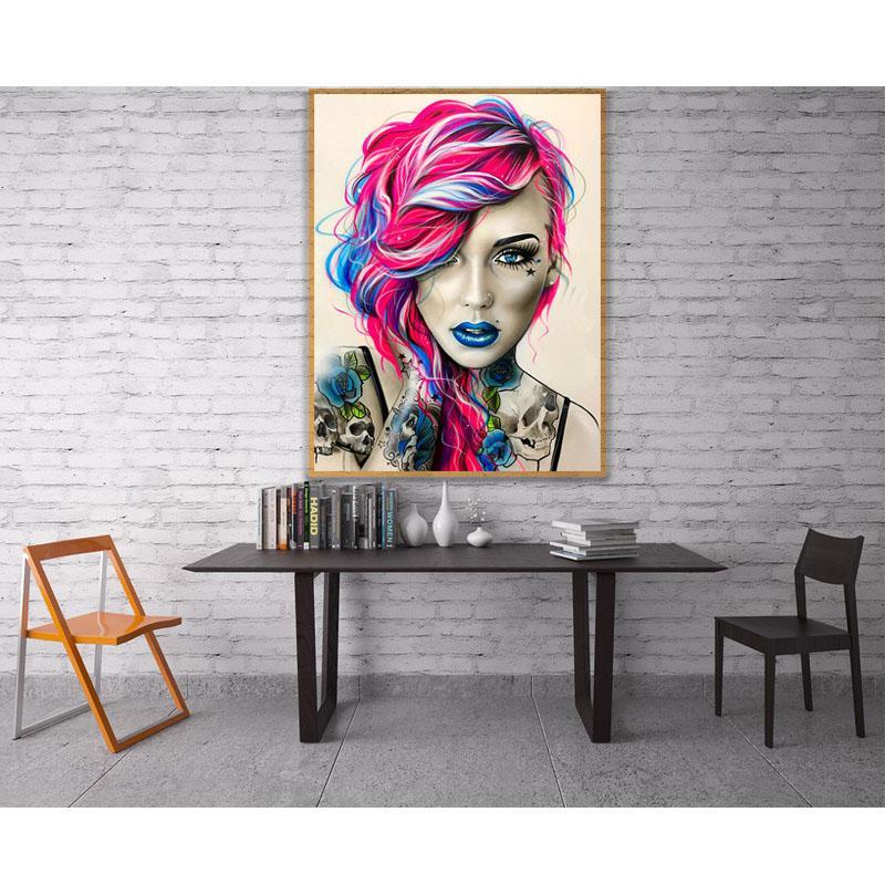 wholesale 5D domineering tattoo skull girl lady Full Diamond Painting cross stitch art portrait 3D paint by diamonds