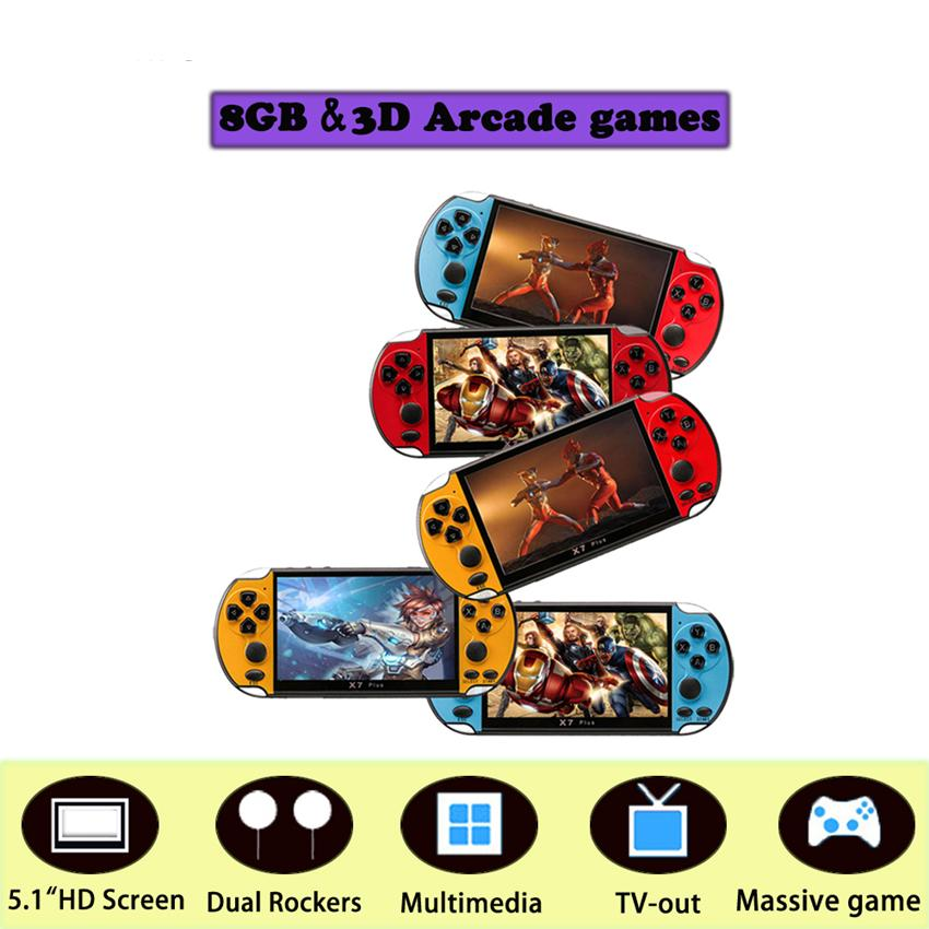 New 5.1 Inch Display X7 Plus Handle Game Console Retro Chilren Game System Built in 8G Classic for SUP GBA Arcade Dual Joystick Video Game