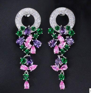 Высококачественный подарок мода алмазный кристалл 925 серебряные серьги леди бесплатная доставка 27e