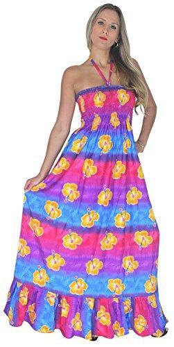 Vestidos Casuais La Leela 3 em 1 Vintage Floral Halter Pescoço Vestido / Long Maxi Beach Saia Mulheres