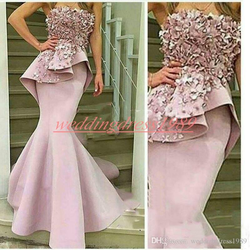 Elegância Árabe Sereia Peplum Vestidos de Noite Cetim Plus Size Tiras Artesanais Flor Formal Desgaste Do Partido Pageant Prom Vestidos Ocasião