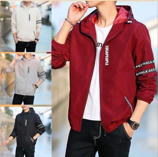 Jacken mit Kapuze Mantel Frühling und Herbst Langarm-Mäntel Herren Frühling Outwear Brief Zipper Solid Color Mens Designer