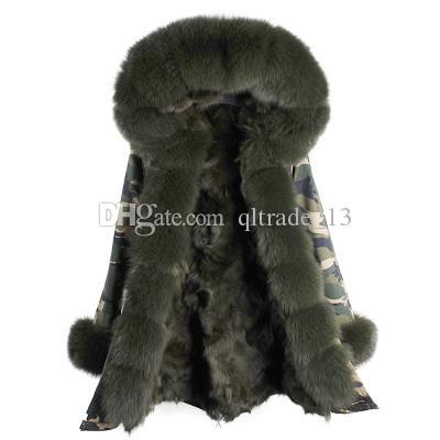 Chegada nova verde escuro guarnição da pele de raposa limiar maomaokong marca escuro verde forro de pele de coelho camuflagem shell longos casacos de neve parka cuff pele