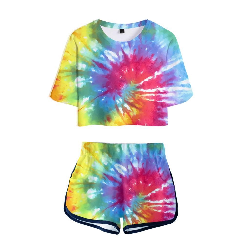 Estate pista del vestito Donna 2 piece set Tie Dye 3D Print Bassiera Shorts due pezzi abiti casual Donne Tuta Sportwear due pezzi
