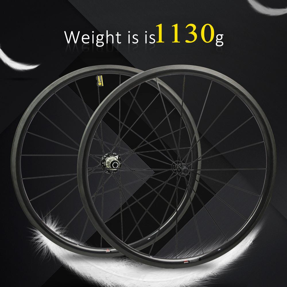 1130g Only 700C Road Bike Wheelset Carbon Fiber Bicycle Wheel Tubular Or Clincher Straight Pull Hub And 4.3g Spoke For Climbing