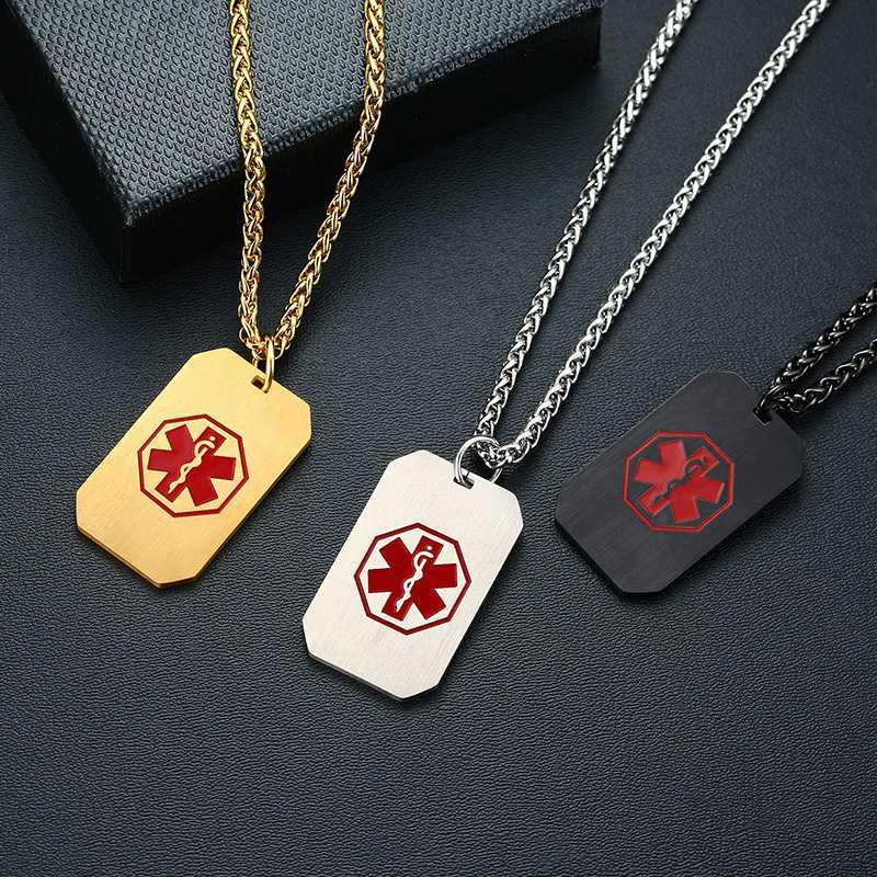 Red Symbol Medical Alert ID Coin Tag Necklace Pendant Engraving Stainless Steel