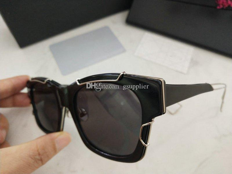 Новая летняя модельер солнцезащитные очки полный кадр для мужчин, женщин с плоским зеркалом декоративные очки с коробкой
