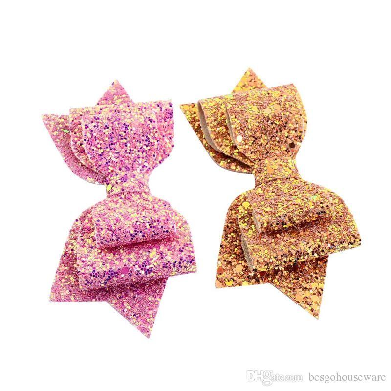 5 дюймов Девушки Блестки Bowknot Шпилька для волос Аксессуары Детские 17 цветов Barrettes луки младенца зажима волос детей головные уборы Заколки BH1646 такой анкеты