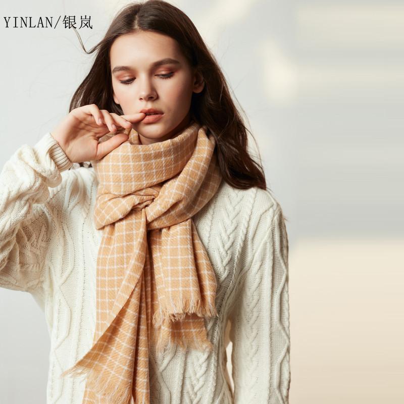 Нового плед шерстяного шарфа женская осени и зимой внешний корейский дикий длинный участок большой решетки минималистской принять теплый платок воротник