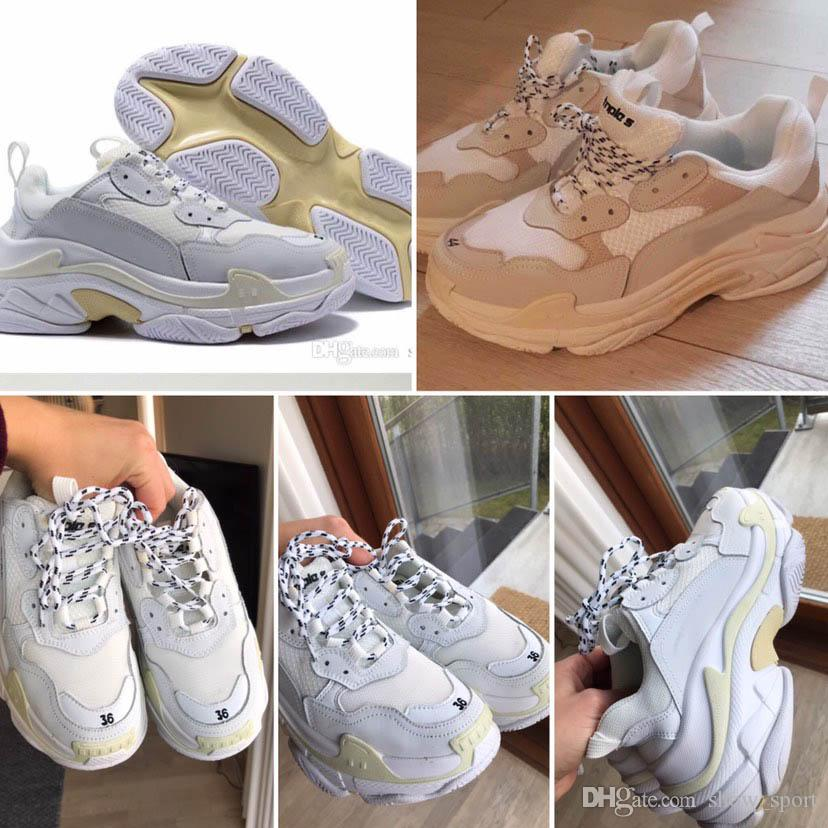 2020 Designer Triple S Platform Sneakers For Men Women Chaussures Paris 17FW Triple Black Cream Yellow Red Casual Shoes Luxury Shoes 36-45