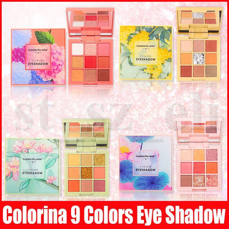 Colorina 9 Colors Eye Shadow Palette Pigmented Matte Shimmer Eyeshadow Palette Waterproof Eye Shadow Flower Makeup 4 Styles