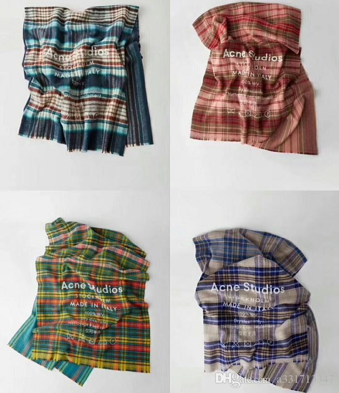Hot alta Qualtiy luxo clássico xadrez Acne lenço Carta padrão cachecol de lã de seda Cashmere cachecol quente xale senhoras