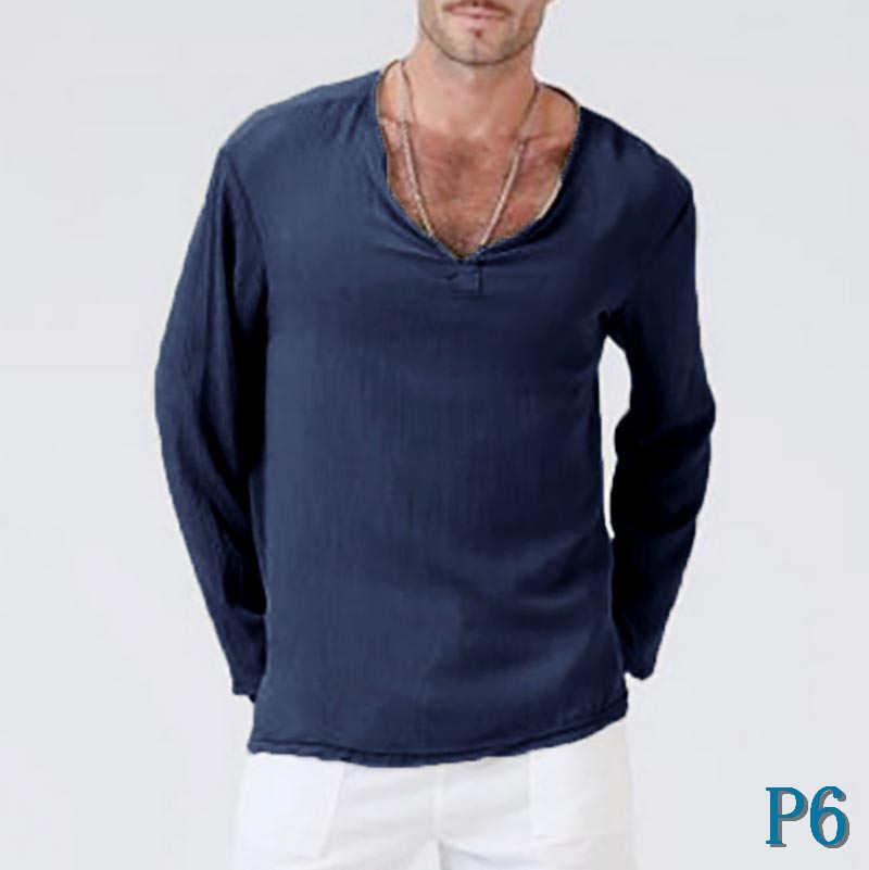 Women Plus Size Long Sleeve Casual Linen VNeck Blouse T-Shirt Pure Clothes AU