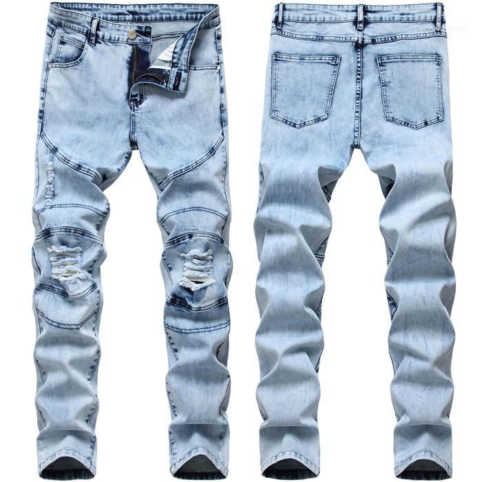 Luce jeans lavati primavera-estate Designer Slim pantaloni della matita Maschi Pocket Panelled pantaloni di modo Mens Hole