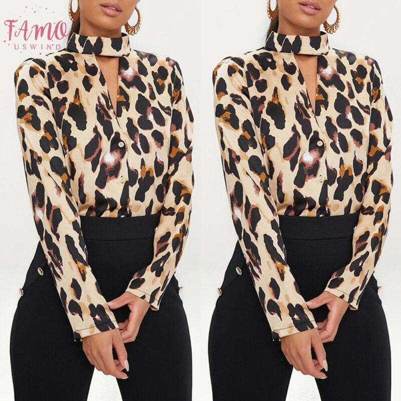 Vogue Mujeres leopardo de las señoras impresas camisas sueltas de manga larga con cuello en V tapas atractivas Blusas Mujer Blusas camisas de la manera sobre el tema
