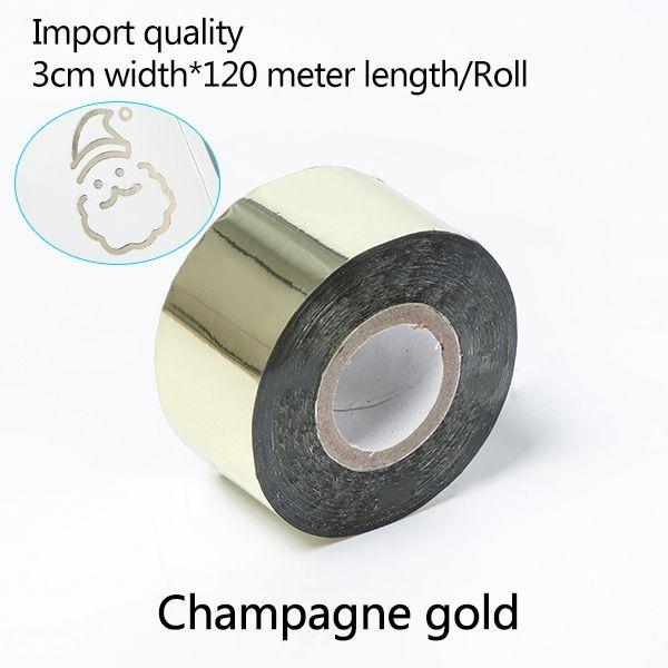 Transferência 3CM * 120 metros / Champagne cor do ouro Rolls Hot Stamping Papel térmico anodizado papel dourado para Couro PU Carteira Hot Stamping