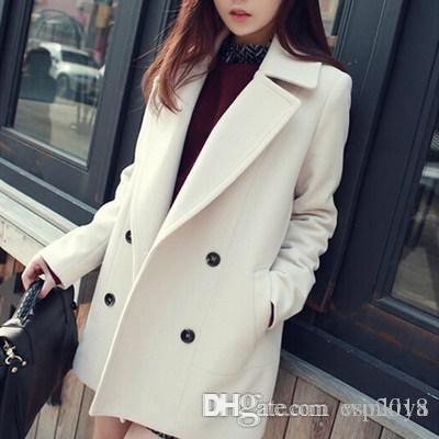 -Invierno al por mayor medio-largo Blanco Azul Luz capa de las lanas de las mujeres de Corea Moda Chaquetón doble de pecho más el tamaño Outwear Manteau Femme
