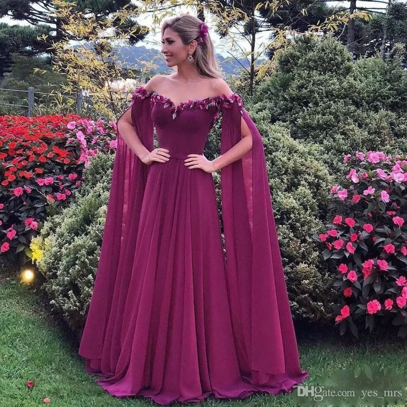 2020 저렴한 보라색 라인 이브닝 드레스 어깨 쉬폰 레이스 3D 아플리케 긴 소매 케이프 랩 아프리카 파티 파티 가운