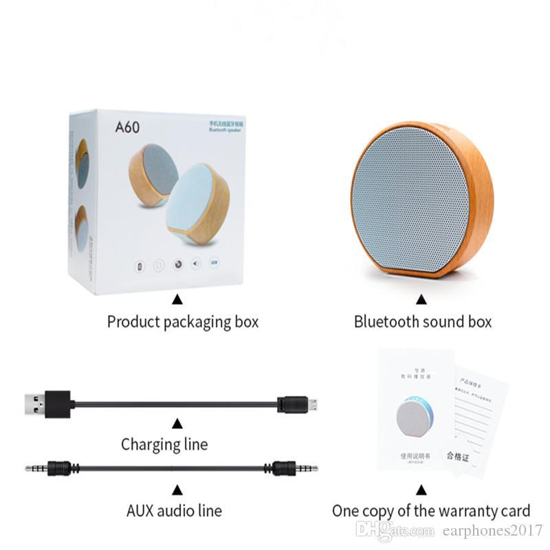 A60 المتكلمين المحمولة سماعات بلوتوث خشبية يدوي mp3 سوبر ميني لاسلكي المتكلم دعم بطاقة SD AUX مضخم الصوت راديو للهواتف الذكية