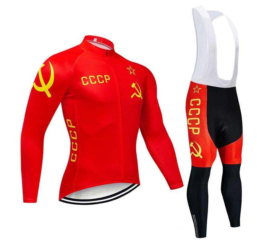 2020 CCCP New Cycling Jersey à manches longues et pantalons de cyclisme vélo Kits cycle de sangle O19121601