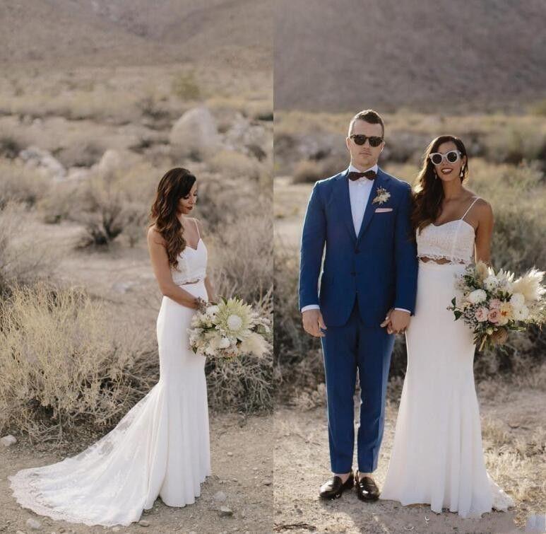 Duas Peças de Vestidos De Casamento Bohemia Sexy Cintas de Espaguete Rendas Sereia Equipado Chiffon Vestidos de Noiva Do Casamento Barato Longos Vestidos de Casamento