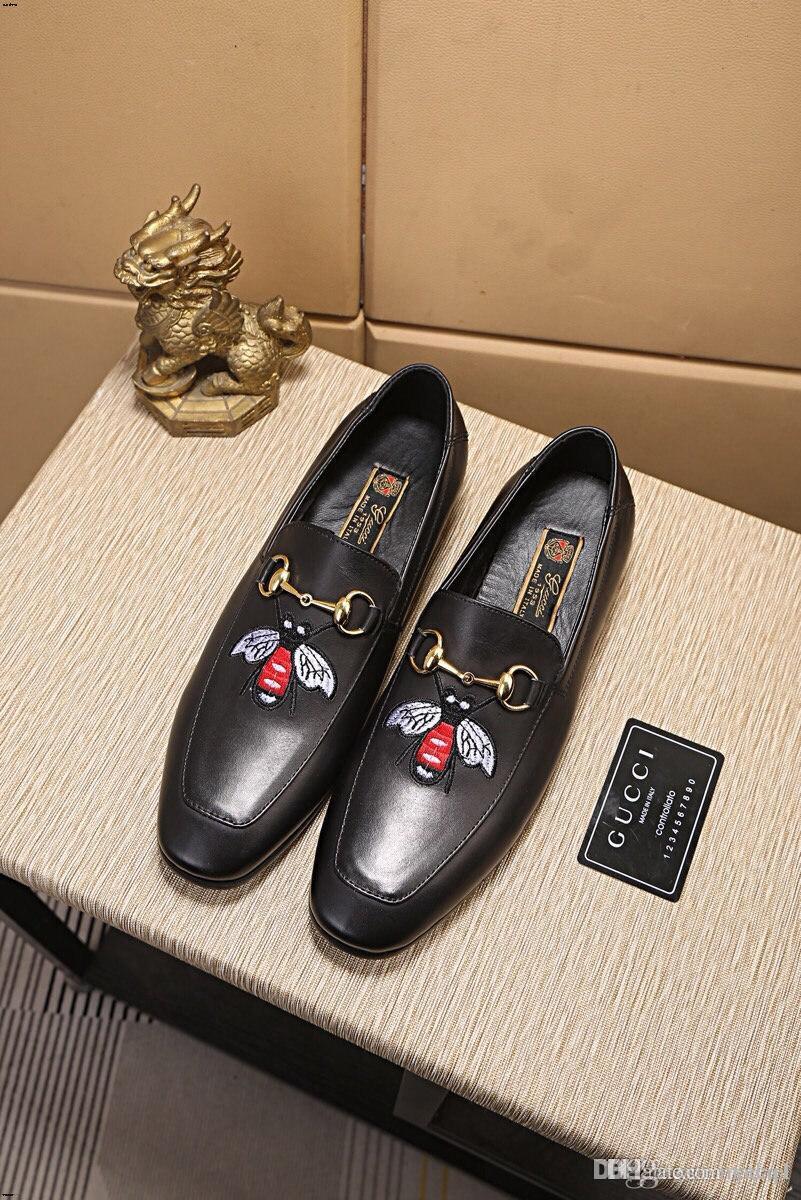 20FW Luxury Brands Vera Pelle scarpe da cerimonia uomo Scarpe a punta Slip-on Abito scarpe scarpe da sposa uomini dell'Ufficio di moda Scarpe YECQ1
