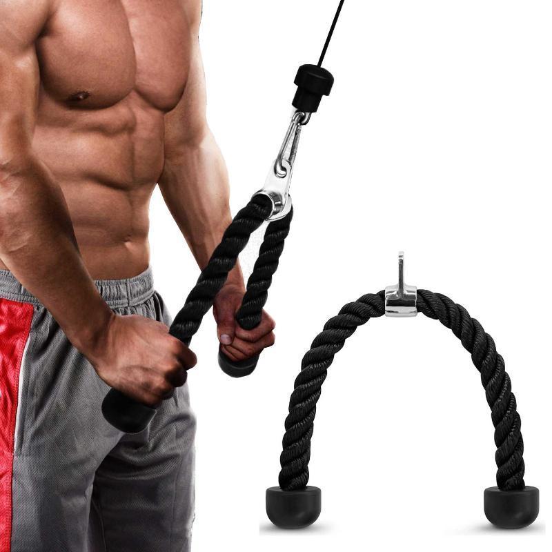 Tricep Halat Spor BodyBuilding Spor Karın Egzersizi Kablo Çekme Aşağı Drenlerinin Biceps Kas Eğitimi Çekme Halat