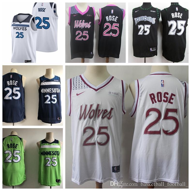 los angeles 04cb3 eaeba 2019 New Playoff Edition 25 Derrick Rose Timberwolves Basketball Jerseys  Stitched Derrick Rose Timberwolves Blue Basketball Shorts Custom Tee Shirt  ...