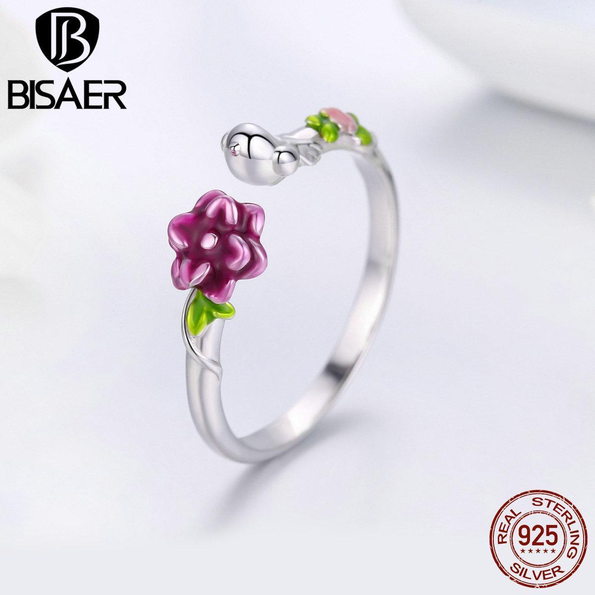 Atacado 925 Sterling Silver Cherry Flower Orquídea Anel Ajustável Rose Flor Anéis de Dedo para As Mulheres da Jóia Do Casamento anel ECR462