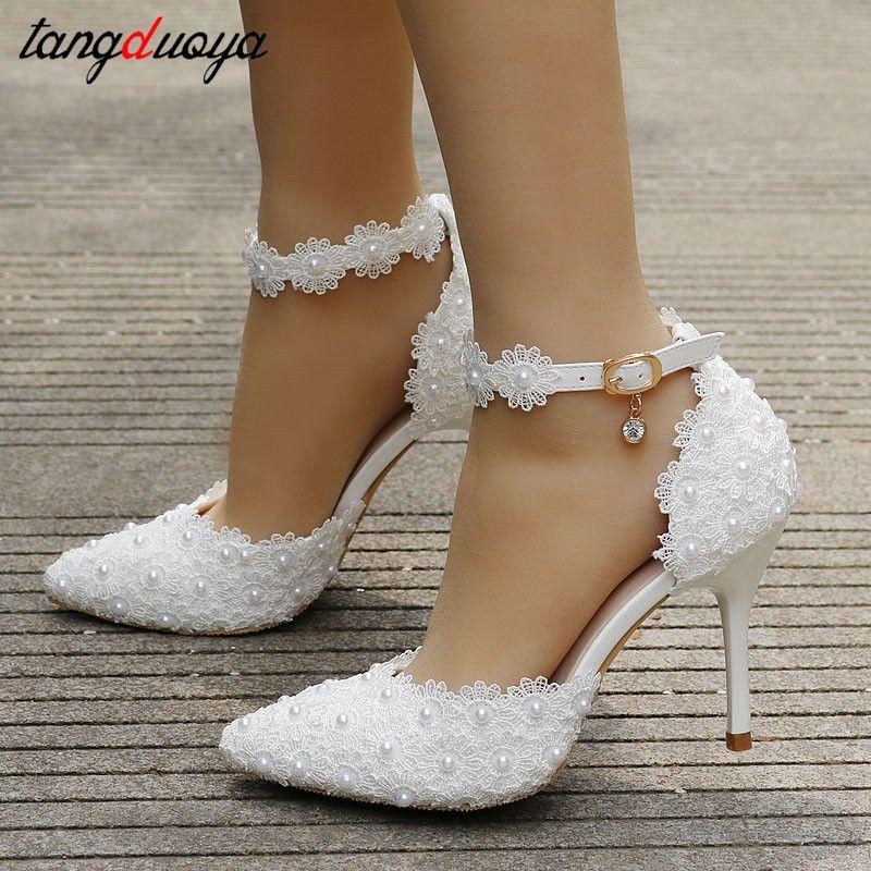 ayak bileği kayışı yapay elmas topuk kadın düğün dantel çiçekler yüksek topuk stiletto ayakkabılar beyaz T200525 pompalar