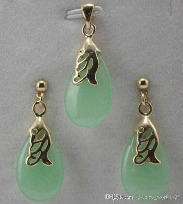 Halskette New Jewelry grün Anhänger Halskette Ohrring Set