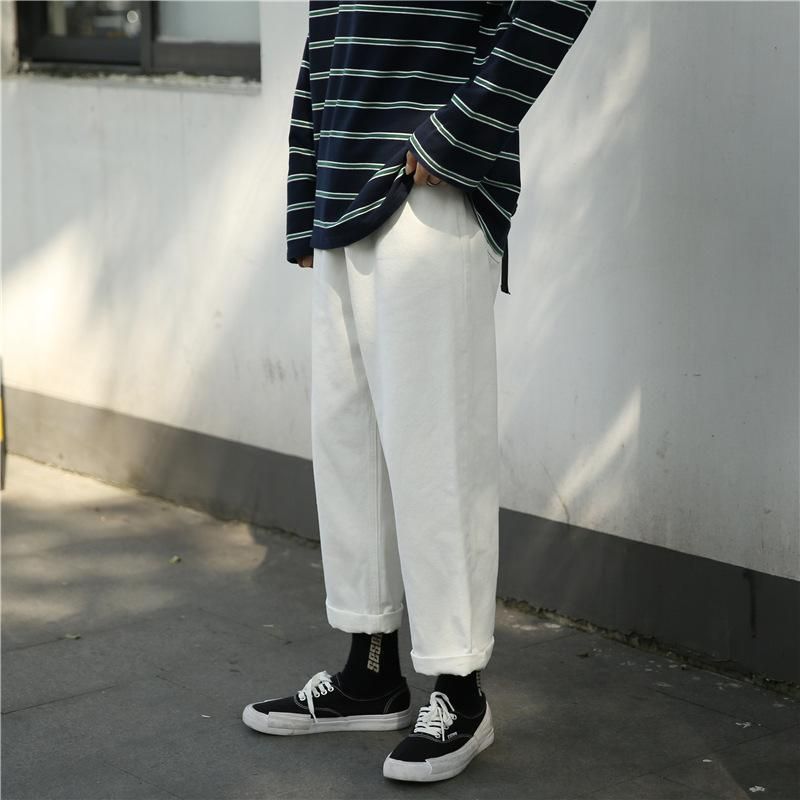 Wholesale 2020 new fashion Casual jeans men Korean youth brand students wild loose wide leg white streetwear harem trousers