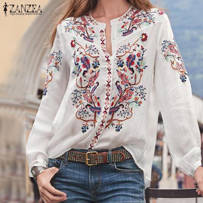 Bohemian Printed Tops Women's Autumn Blouse ZANZEA 2019 Plus Size Tunic Fashion V Neck Long Sleeve Shirts Female Casual Blusas Y200103