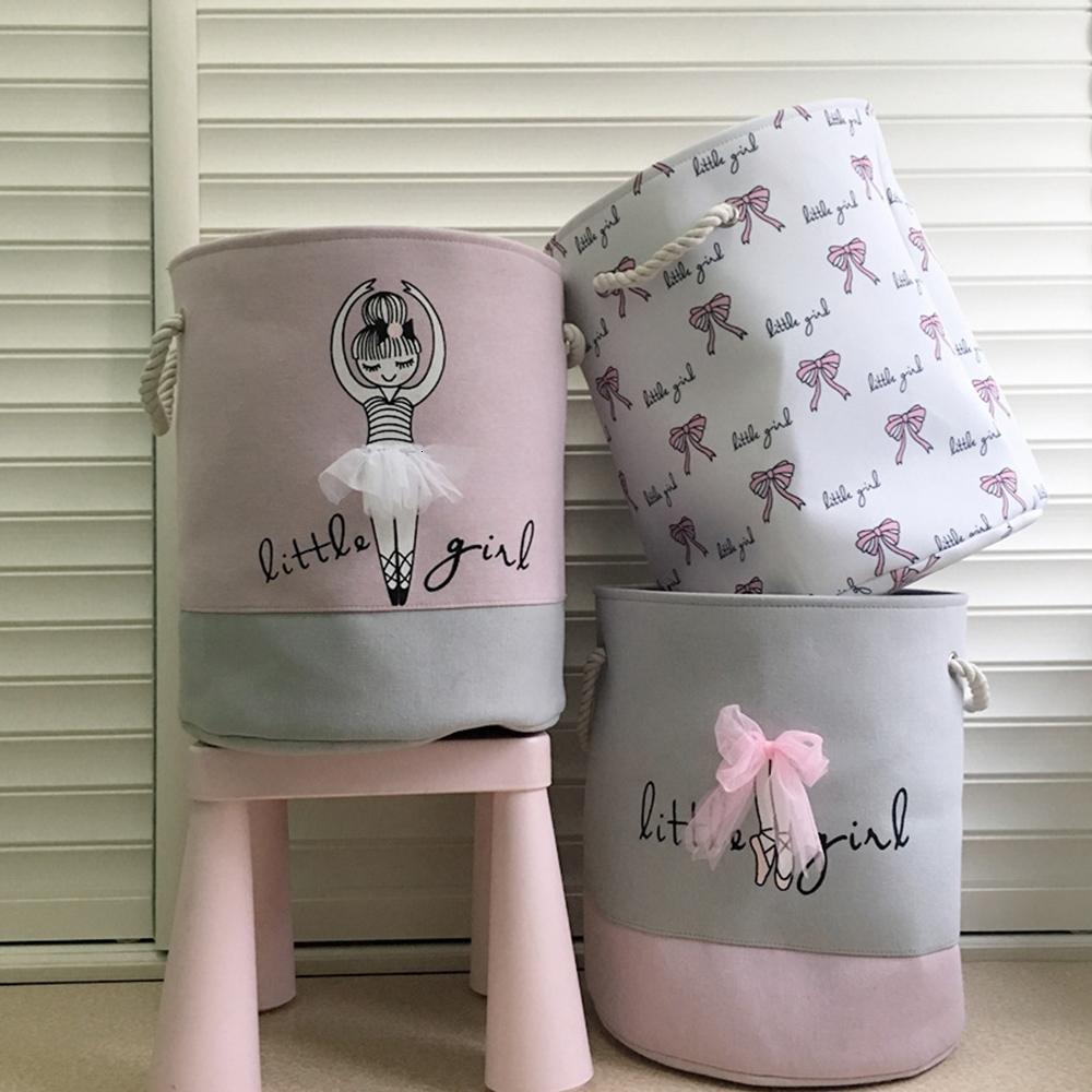 Foldable Laundry Basket for Dirty Clothes Pink Ballet Girl Toys baskets bag Organizer kids Home Storage washing Organization SH190923