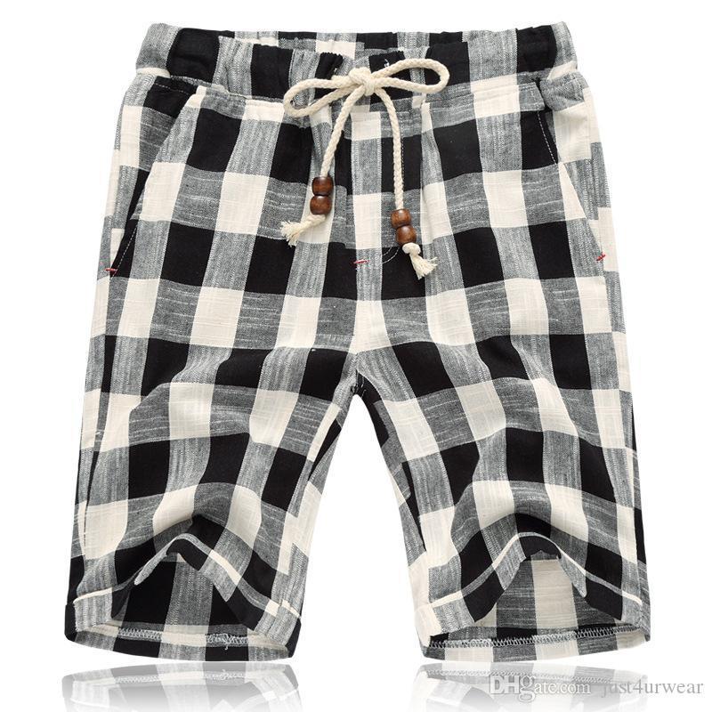 Mens-Sommer-neue beiläufige Kurzschlüsse lose gerade Baumwollstrand Plaid kurze Hosen Marke Male Breath Shorts