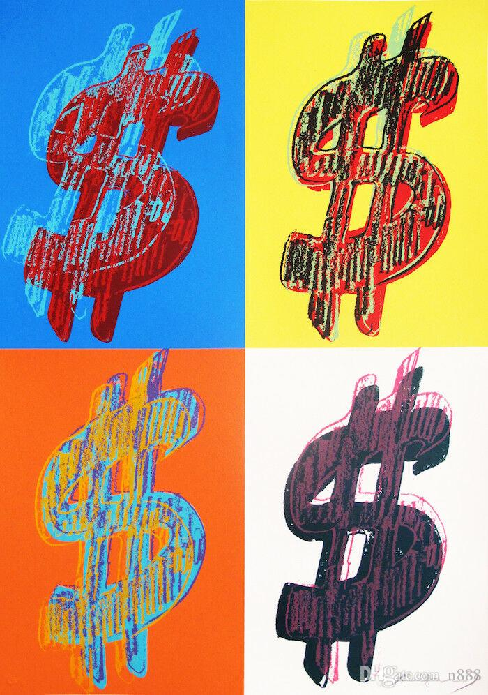 Andy Warhol Oil Painting On Canvas Pop Art Wall Decor Dollar Sign Series Home Decor Handpainted &HD Print Wall Art Canvas Pictures 191028