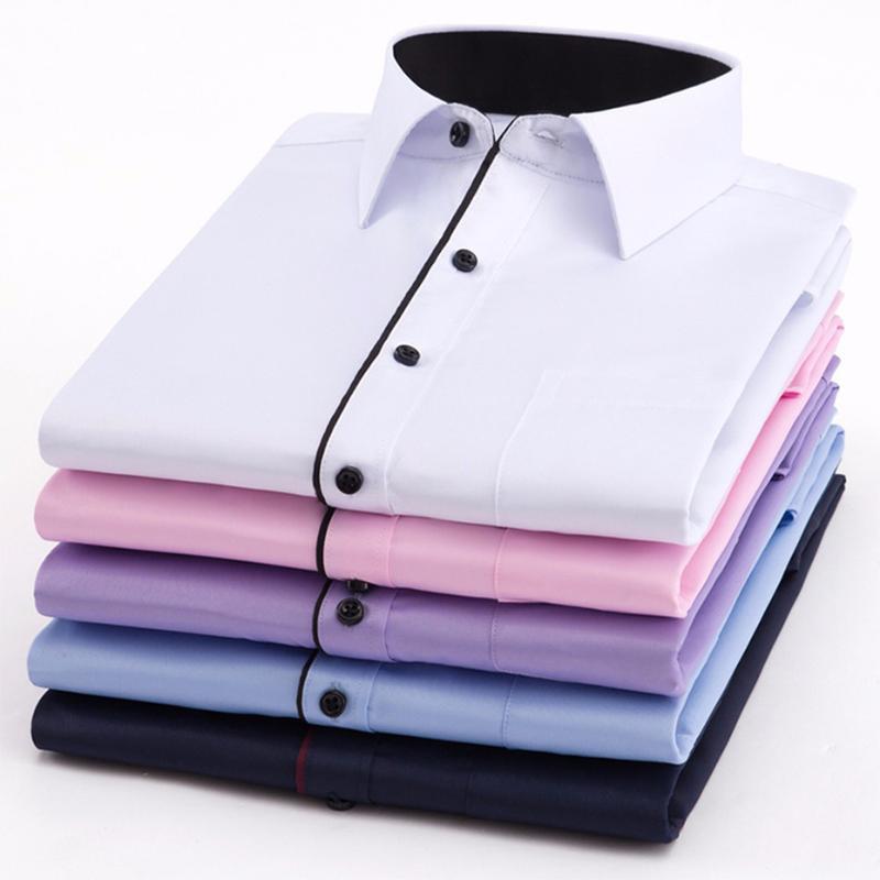 Zogaa 2019 Spring Nouveau Hommes Chemise couleur pure manches longues Homme Noir Vêtements de travail Homme d'affaires Marque classique Fit Twill Fashion