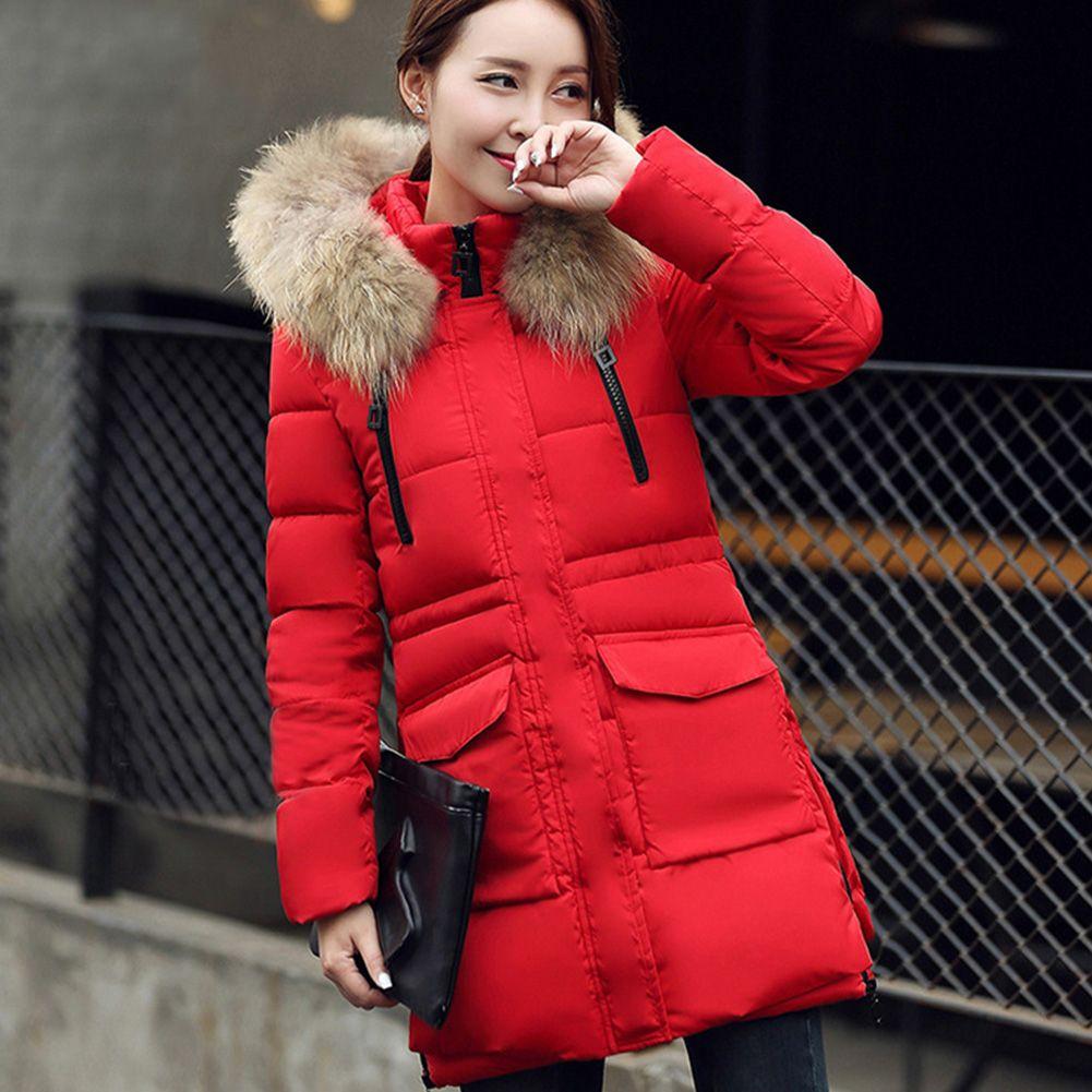 Nouvelle arrivée femmes chaud Big fourrure mode manteau col à manches longues à capuche épais longueur moyenne mince hiver outcoat veste vers le bas