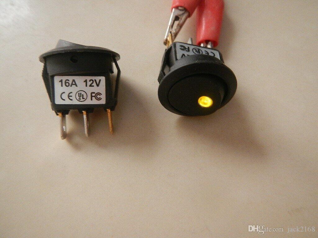 Schermo 100Pcs 12V rotonda LED GIALLO illuminata illuminata Rocker Switch Nuovo D8CY