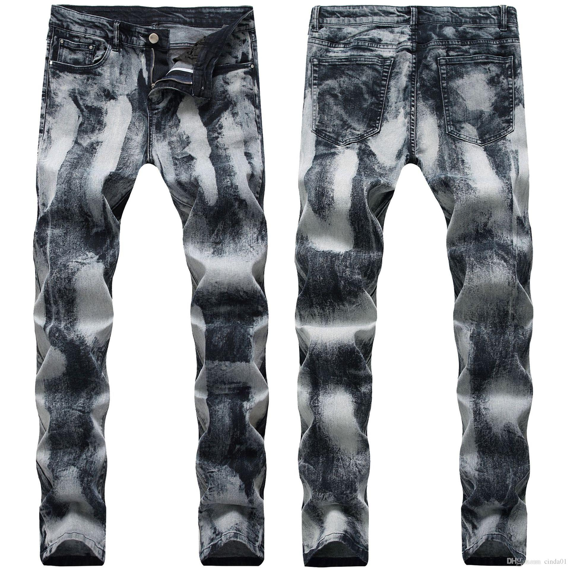 21 Styles Jeans Mens Dobre Calças da motocicleta Hetero Slim Fit Europa e América rasgado Buraco Lavados Moda Calças Calças Lápis de rua