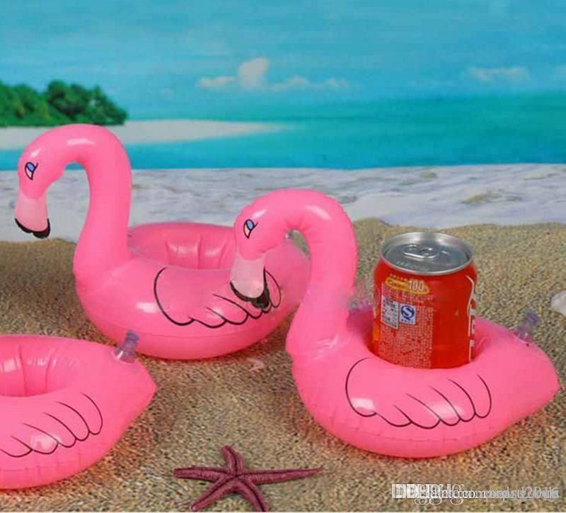 12 Parça-Flamingo Şişme İçecek Botlle Tutucu Güzel Pembe Yüzer Banyo İçecek tutucu Flamingo Şamandıra yüzme havuzu Malzemeleri