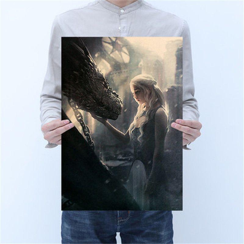 Game of Thrones Poster Vintage Kraft Papel Poster Bar Cafe pintura decorativa Wall Sticker 50.5X35cm